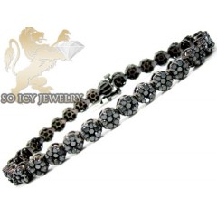 Ladies 14k Black Gold Black Diamond Flower Bracelet 8.00ct