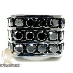 14k Black Gold 3 Row Black Diamond Fashion Mens Ring 6.00ct
