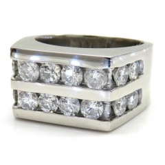 14k White Gold 2 Row Diamond Wedding Band Ring 2.50ct