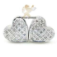 .925 Silver Round Diamond Heart Earrings 0.35ct