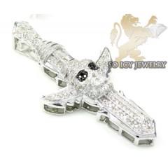 .925 Silver Black Diamond Skull Head Cross 1.25ct