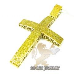 10k Yellow Gold Canary Diamond Pave Cross 2.80ct