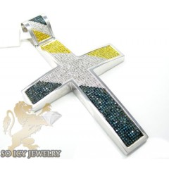 2.50ct 14k Solid White Gold Tri Color Diamond Pave Cross