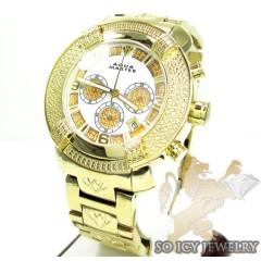 Mens aqua master genuine diamond yellow ornament watch 0.20ct