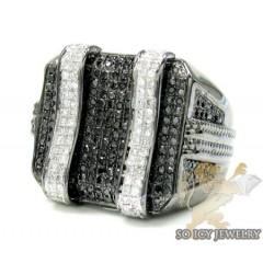 Mens 14k Black Gold Black Diamond Fancy Fashion Ring 1.50ct