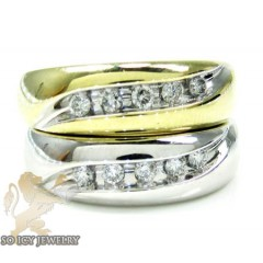 Unisex 14k yellow gold round diamond wedding band 0.50ct