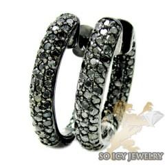 Ladies 14k Black Gold Round Black Diamond Hoops 3.00ct