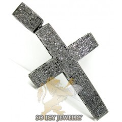 14k Black Gold Black Diamond Pave Cross 3.00ct