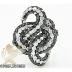 Ladies 14k White Gold Black & White Diamond Cocktail Ring 2.50ct