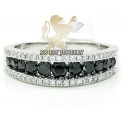 Ladies 14k White Gold Black Diamond Wedding Band 1.00ct