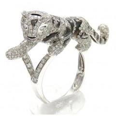 Ladies 14k White Gold Diamond Black Rhodium Tiger Ring 2.00ct