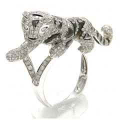 Ladies 14k White Gold Diamond Black Rhodium Tiger Ring 2.00ct