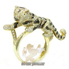 Ladies 14k Yellow Gold Diamond Black Rhodium Tiger Ring 2.00ct