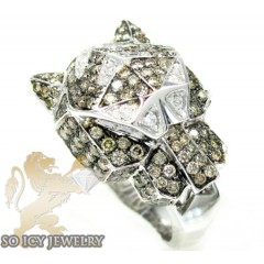 Ladies 14k White Gold Champagne Diamond Panther Head Ring 3.30ct