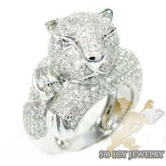 Ladies 14k White Gold Round Diamond Tiger Ring 2.25ct