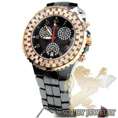 1.25ct Ladies Aqua Master Diamond Watch Rose & Black Ceramic