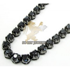 Mens 10k Black Gold Round Black Diamond Tennis Link Chain 95.00ct