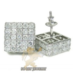 10k White Gold Round Diamond 3d Ice Cube Earrings 4.50ct