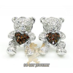Ladies 10k White Gold Diamond Heart Teddy Bear Earrings 0.35ct