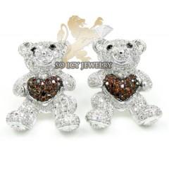 Ladies 10k White Gold Diamond Heart Teddy Bear Earrings 0.80ct