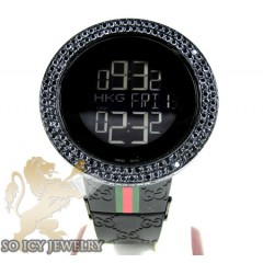 Mens Black Diamond Igucci Digital Watch 6.00ct