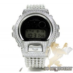 Mens White Cz Dw-6900 G-shock Watch Full Ice 15.00ct