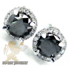 14k White Gold Round Black & White Diamond Stud Earrings 1.26ct