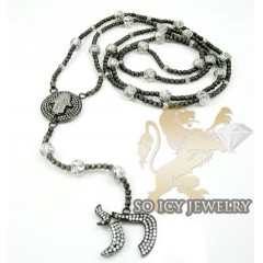 14k Black & White Gold Diamond Jewish Rosary Necklace 1.30ct