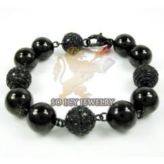 Black Sterling Silver Black Diamond Macramé Smooth Bead Rope Bracelet 9.05ct