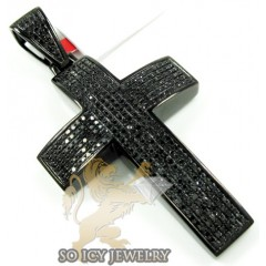 Mens Black Sterling Silver Round Diamond Cross 1.75ct