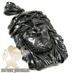 Mens Black Silver Black Diamond Jesus Pendant 2.61ct