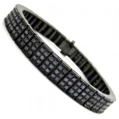 Black Sterling Silver Black Diamond Tennis Bracelet 14.20ct