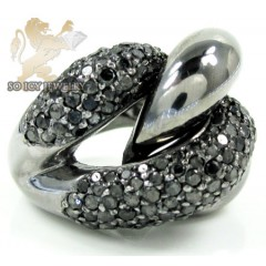 Ladies 14k Black Gold Round Black Diamond Swirl Ring 3.00ct
