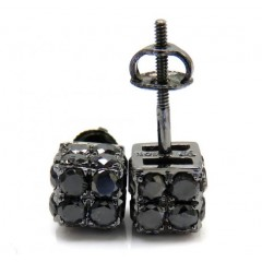 10k Black Gold Round Diamond 3d Ice Cube Earrings 2.23ct