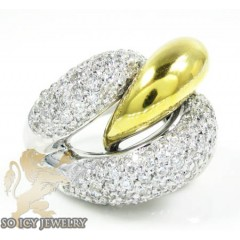 Ladies 14k Two Tone Gold Round Diamond Fashion Ring 2.00ct