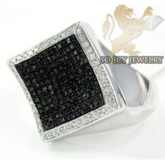 Mens Sterling Silver Black Diamond Kite Ring 1.25ct