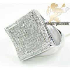 Mens Sterling Silver Diamond Kite Ring 1.25ct