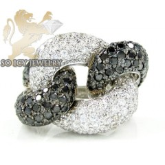 Ladies 14k White Gold Black & White Diamond Swirl Ring 4.60ct