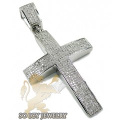 Mens Sterling Silver Pave Diamond Cross 1.75ct