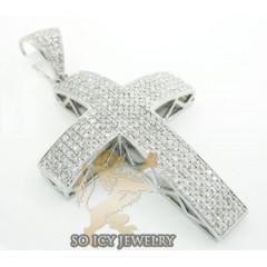 14k White Gold Round Diamond Pave Cross 1.25ct