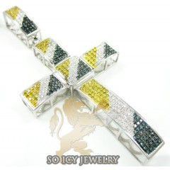 10k White Gold Round Blue & Canary Diamond Pave Cross 1.60ct