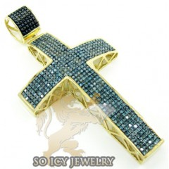 10k Yellow Gold Round Blue Diamond Pave Cross 1.80ct