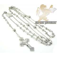 Silver Cz Rosary Chain Cross 7.00ct