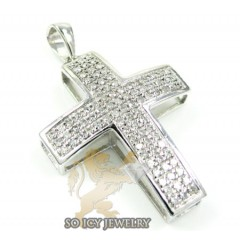 14k White Gold Round Diamond Pave Mini Cross 0.40ct