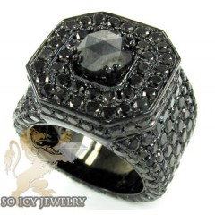 Mens 10k black gold black diamond xl ring 19.60ct