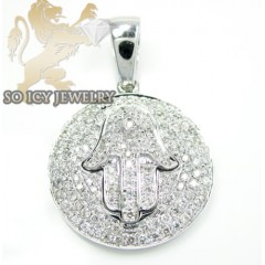14k White Gold Round Diamond Chai Jewish Pendant 0.61ct
