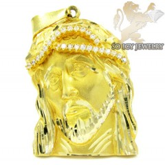 14k Yellow Gold Cz Jesus Pendant 0.54ct