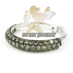 Ladies 14k White Gold Champagne Diamond Wedding Band 0.89ct