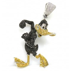 Daffy Duck 10k White Gold Diamond Pendant 4.75ct