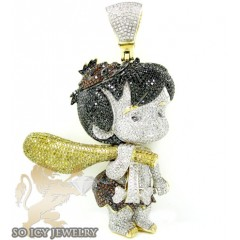 Flintstone Bam Bam 10k Yellow Gold Diamond Pendant 10.00ct